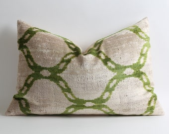 Green Velvet Ikat Pillow Cover - Green Decorative Throw Pillows Home And Living Sofa Pillows Ikat Pillow Green Pillow Ikat Cushion Velvet