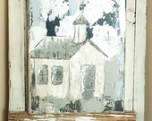 "Old Country Church Painting, Farmhouse Decor, White, Gray, Neutral Decor, Rustic Art, 8"" x 10"", Acrylic on Canvas"