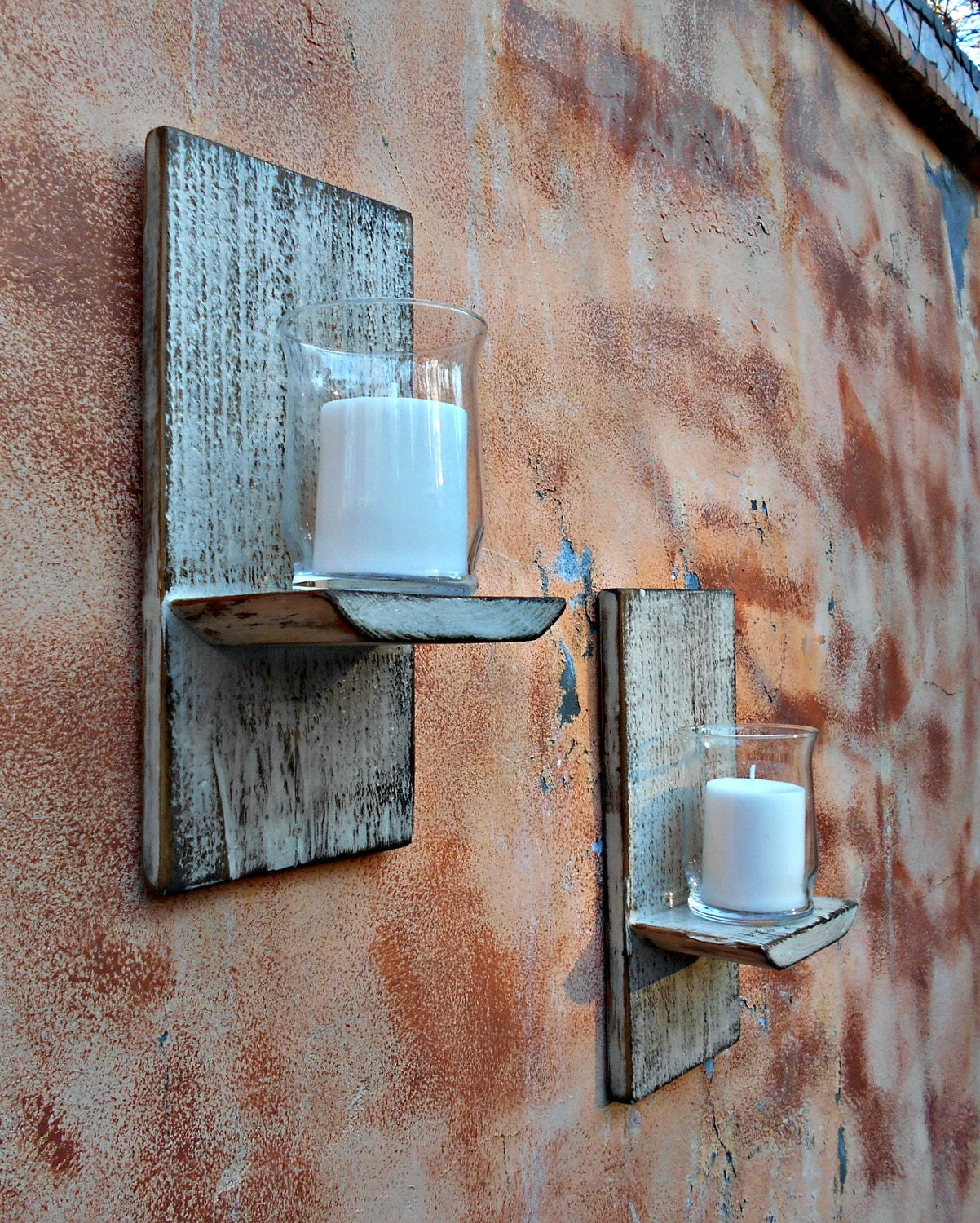 Wood Wall Sconce Rustic Candle Sconce Set of 2 Reclaimed