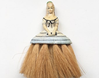 Vintage crinoline lady brush - collectible homewares, china bust, 1940s ceramics, burlesque, glamour, Moulin Rouge, boudoir,  home decor