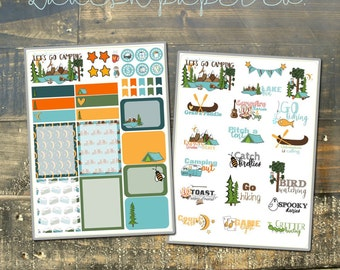 Let's Go Camping Kit Planner Stickers by Lavish Paper Co. | Perfect for Erin Condren, inkWELL Press, Mormon Mom Planner, Happy Planner