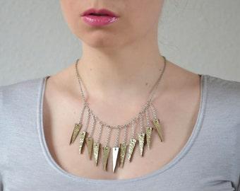 Gold dangle necklace, Gold leather necklace, Handmade jewelry, Triangle necklace, Ecofriendly jewelry, Charm bib necklace, Bohemian jewelry