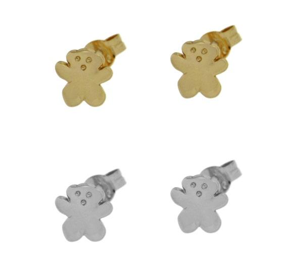 Bear silver 925 earrings, delicate earrings, bear shape earrings, stud earrings, gift