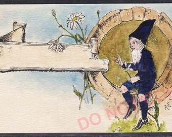 Antique original circa early 1900 German postcard water painting Gnome Elf Dwarf post card Signed