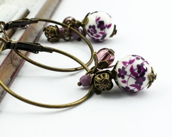Earrings, purple, cherry blossoms, Japan, violet, lilac, flowers, antique, bronze, vintage, nostalgic, romantic, wedding, bohemian
