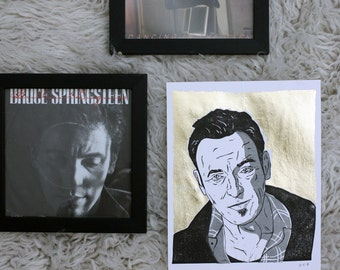 "Bruce Springsteen 'The Boss' - Original Relief Print - Black/Grey with Gold Leaf - 10"" x 8"""