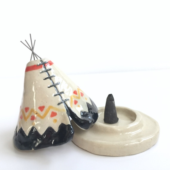 Incense Burner Teepee That Smokes Ceramic Black Coral Yellow