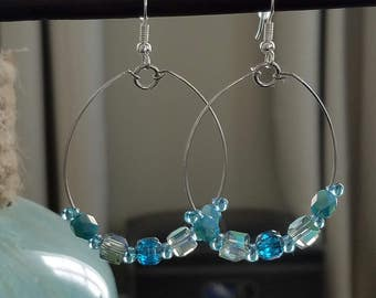 Pretty Blue Hoop Earrings
