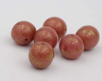 Czech Glass 10mm Round Pink Lumi Picasso  12 Pieces