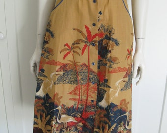 Vintage 70's Tropical Bird Skirt - A Line  Button Front Scenic Skirt - Sz Small