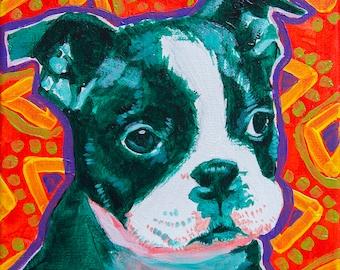 "Boston Terrier - 8x10"" Print of Original Acrylic Dog Portrait Painting"