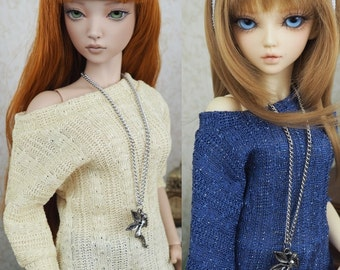 Kawkana - Butterfly Sweather, Braid Knit Tunic with Silver, Blouse for MSD, dollfie, MNF, JID, other 1/4 bjd