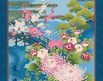 "Mt. Fuji: Blue Asian Japanese Fabric (Panel 24"" x 44"")"