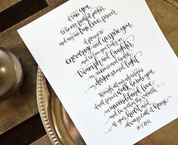 Wedding Vow Gifts: Handwritten Wedding Vows Art Custom Personalized Printable