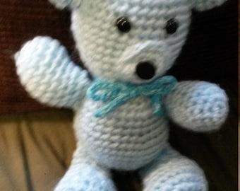 Crocheted Aquamarine March Bear