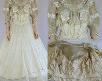 RARE 1860s Victorian Wedding Dress Antique Gown Civil War French Silk Satin & Lace Trimmed Boned Bodice High Collar Size M L