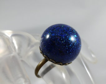 Glitter Globe, Bauble Ring, Resin, Adujtable Ring, Statement Piece,