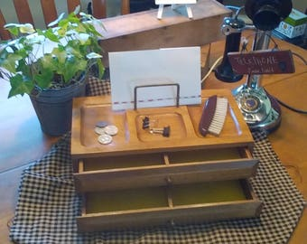 "Wood Dresser Valet/Jewelry Box, ""DRESSER BUTLER"", 2 Drawer Valet, Storage/Organizarion, Gift for Him, Mid Century Jewelry Box for Him"