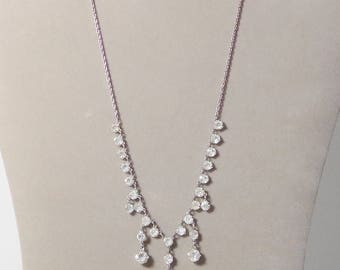 Silver and Rhinestone Choker Necklace Vintage Dangling Stones Pronged SALE
