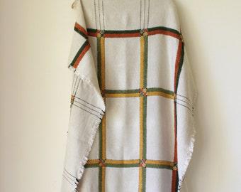 Retro embroidered tablecloth/ Vintage linen tablecloth/ boho bohemian decor/ Retro cotton textile/ unique housewarming gift