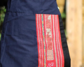 Thai Hill Tribe Antique Hand Embroidered Wrap Festival Skirt