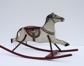 Antique Wooden Rocking Horse with Horse Hair Tail, Child's Rocking Horse, Hand Made & Hand Painted