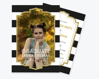 Gold Glitter Graduation Photo Invitation PDF Template, Stripes Printable Graduation Announcement Party Invitation, Class of, DIY You Print