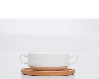 Japanese Pottery Soup Bowl Set | handmade ceramic wood plate | stoneware wooden dining