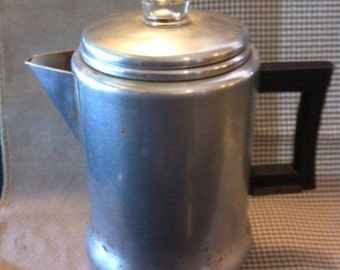Camper's Delight Coffeepot, Vintage Coffee Maker, 9 Cup Aluminum Percolator, Fresh Coffee, Have It Your Way