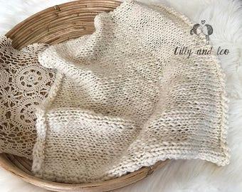 Photo Prop Baby Blanket/Organic Merino Wool Blanket/Knit Baby Posing Blanket/Newborn Prop/Chunky Photo Blanket/Mini Blanket