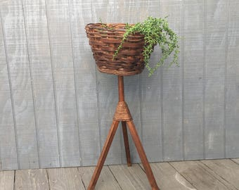 Vintage Wood and Woven Plant Stand, Basket On Tripod Fern Stand, Wicker Stand