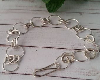 Sterling Silver Chain Bracelet. Eco Friendly Bracelet, Custom Made Bracelet, Gift For Her, Silver Bracelet, Girlfriend Bracelet Gift
