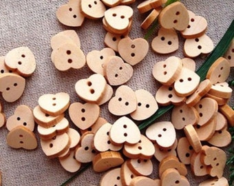 50 x Natural Wooden Love Heart Buttons. 11mm x 10mm. Perfect as a Valentine's Day Gift, Romance, Sewing, Dressmaking and Needle Craft.