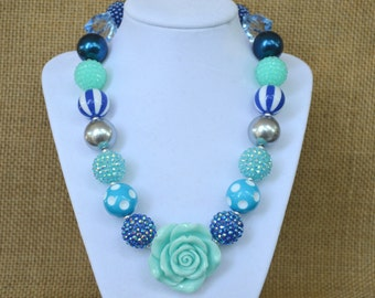 OH BABY BLUES! Girls Chunky Beaded Bubblegum Necklace with Aqua Rose~Navy, Turquoise, Aqua, and Light Blue~Chunky Gumball Necklace