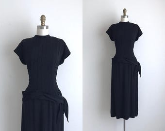 "1940s Dress / Vintage 1940s Cocktail Dress / Black 2-Piece Rayon Dress 24"" Waist"
