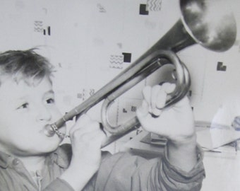 Johnny Blow Your Horn - Vintage 1940's Little Bugler Boy Blowing His Bugle Snapshot Photo - Free Shipping