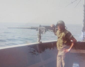 Vietnam War Era 1970's American Battleship Machine Gunner South China Sea Color Snapshot Photo - Free Shipping