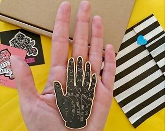 Palm Reader Brooch. Fortune Teller. Palmistry Brooch. Hand. Occult. Witchcraft. Laser Cut Plastic Brooch. Esoteric.