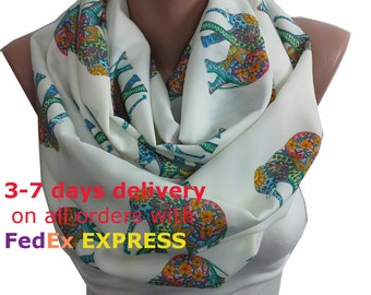 Elephant Scarf Infinity Scarf Animal Scarf Boho Circle Scarf Spring Fall Winter Scarf Fashion Accessories Christmas Gift For Her For Women