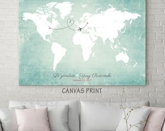 Wedding Guest Book Alternative Map, World Travel Map, Custom Wedding Map, Personalized Map, CANVAS Guest Book, Wedding Map Guest Book