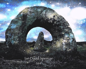 Standing Stones with Cosmic Skies Photography Art Print, Ethereal Stone Circle Art Print, Surreal Landscape Wall Decor, Pagan Cornwall Art