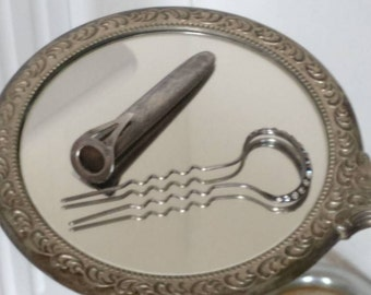 free- shipping - Antique  silver hairpin in  pocket clipped  case / very unusual /something old