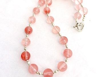 Pink Cherry Quartz Beaded Gemstone Necklace, Quartz Jewellery, Semi Precious Natural Stone Jewelry, Pale Pink Necklace, Strawberry Quartz