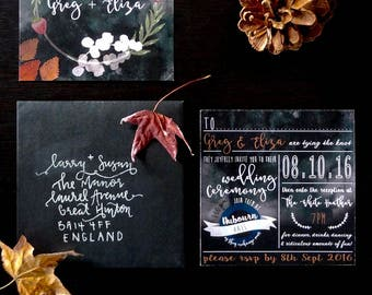 Wedding Invitation, Wedding Invites, Printed Wedding Invitation, Wedding Invitation Printed, Wedding Invite, Black Wedding Invitation, Black