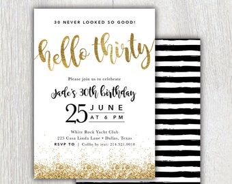 Printable Hello Thirty 30th birthday invitation - Gold glitter - Black stripes - Dirty Thirty - Flirty and thirty - 30th birthday party