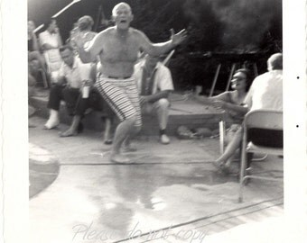It's a Crazy Pool Party ~ Vintage Snapshot Photo