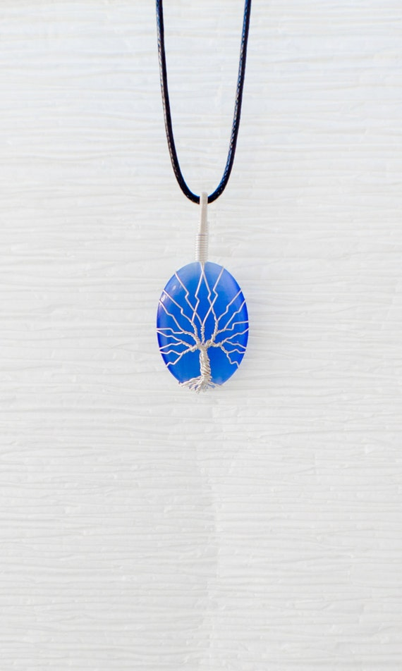 Tree Of Life Silver Wire Wrapped Blue Cats Eye Glass Pendant