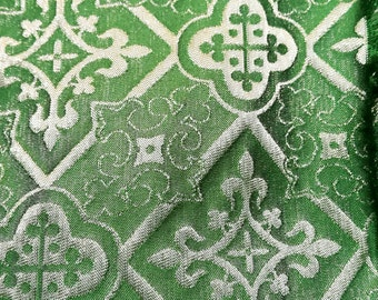 Green damask fabric. 1.65 metres costs 29.50 euros.