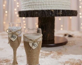 Wedding Champagne Glass and Beer Glass / Rustic Wedding Glasses / Champagne Flute / Country Wedding Toasting Glasses / Rustic Wedding Table