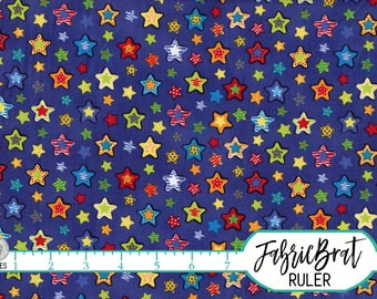 RED YELLOW & BLUE Stars Fabric by the Yard Fat Quarter Fun Bright Star Kids Fabric Quilting Fabric 100% Cotton Fabric Apparel Fabric w5-25